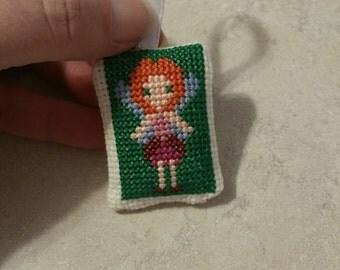 Cross Stitched Fairy Mini Pillow Ornament