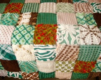 WOODLAND PEACE ~ a Made-to-Order Vintage Cotton Chenille Patchwork  Quilt