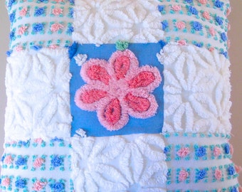 Pink and Blue Handmade Patchwork Vintage Cotton Chenille and Minky Pillow - Ready to Purchase