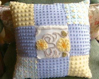 Sample Listing for Custom Order - Light Lemon Yellow and Grey Handmade Vintage Cotton Chenille Patchwork Pillow for Custom Ordering