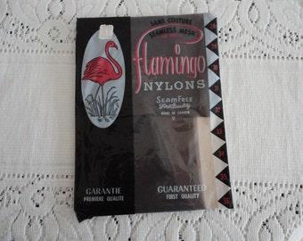60s Nylons med brown 9 -32 Seamless Mesh Unopened Flamingo Vintage Hosiery Stockings