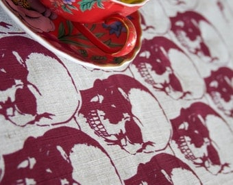 Regency Skull Red on Natural Linen Tea Towel