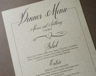 Kraft Wedding Dinner Menus - Rustic Dinner Menus - Kraft Script Menus - Elegant Romantic Vintage Menus - qty of 20+