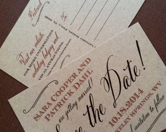 Save the Date postcard - Rustic Kraft Save the Date - Save the Date Cards - Brown, Kraft, Script Save the Date