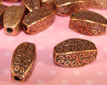 6 Copper Beads 12mm x 6mm Oblong Oval Pewter Spacer Jewelry Supplies Antique Copper Plate USA Made for Bracelets Necklace 1mm Hole 7C