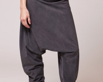 harem pants, dyed with stone wash effect