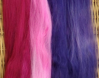 Combed Suri Alpaca Doll Hair 10-12 inches 0.4 of an ounce Wine Burgundy Pink Purple Shades