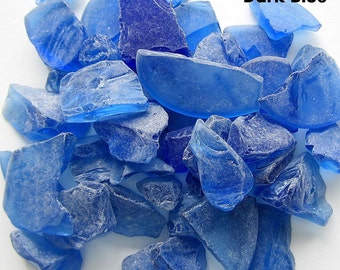 Beach Wedding Decor Bulk Sea Glass, Nautical Wedding Decor Bulk Beach Glass, Bulk Seaglass, Coastal Blue Sea Glass, DK BLUE, 2 Lbs,  #SGBDB