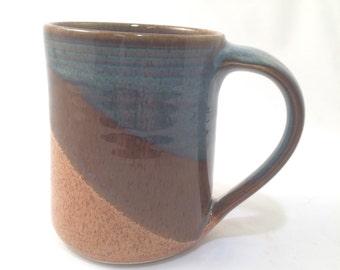 Large  handmade ceramic mug , Nutmeg/ Twilight Blue combo