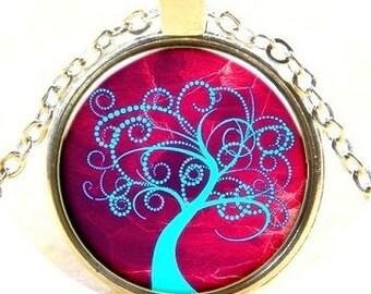 Tree Of Life Pendant - Glass Dome Pendant  - Round Pendant Necklace