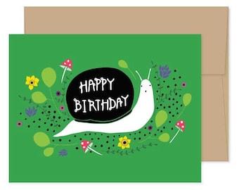 Snail Happy Birthday Cards, Blank Snail Card, Snail Birthday Card, Snail Greeting Cards, Snail Stationery