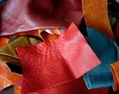 Colored Leather Scraps 1 POUND Premium Cowhide Mix - Leather Remnants Destash