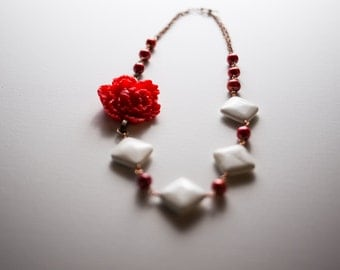 Red Pearl and flower bib necklace