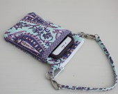 Purse for iPhone 6 or iPhone 6 plus,  Smartphone wallet, Cell phone pouch, Crossbody bag - Free Shipping to US - Amy Butler Cypress Paisley