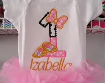 First Birthday baby girl ruffled bodysuit, Cake smash Embroidered girls shirt, Baby girl outfit.