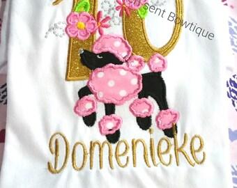 Birthday appliqued girls shirt, Birthday shirt, Poodle birthday number shirt,Embroidered shirt