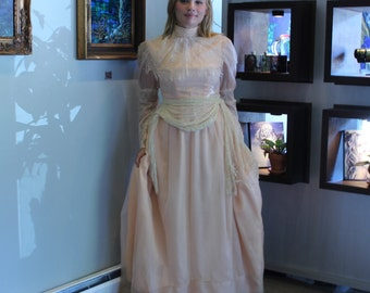Vintage Ballgown - Peach Lace Full Skirted Romantic Peachy Photo Prop - Art Photography Wardrobe