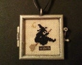 Flying Witch On Broom Cross Stitch Ornament Locket-Completed Cross Stitch