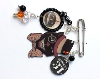 Black Cat Halloween Brooch Pin Top Hat Cat Boo Pumpkin 31 Mixed Media Jewelry Vintage Whimsical Jewelry OOAK