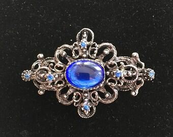 Vintage Victorian Revival Blue Cabochon Rhinestone Pin