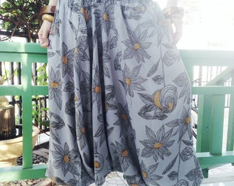 3 in 1 Harem Pant with Grey Floral Printed