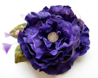 Violet Purple Bridal Satin Flower, Purple Bridal Hair Comb Clip Brooch, Bridesmaids Headpiece, Violet Weddings Hair Accessories, Sash