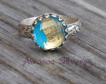 Beautiful Turquoise with Gold Sterling Silver Ring #2. Rose cut Turquoise and gold. Handcrafted turquoise with gold ring in sterling silver
