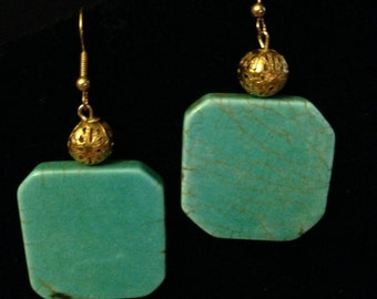 Earrings - Turquoise and Gold Filigree