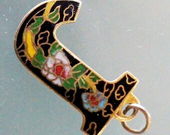 Vintage Initial J Pendant Enamel Charm Necklace Cloisonne Charm Alphabet Letter J