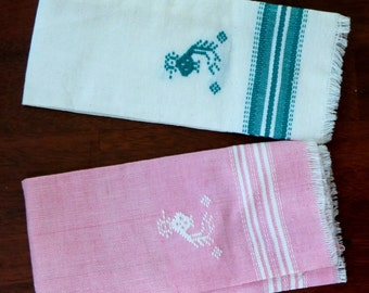 Vintage Tea Towel Quetzal Bird Ethnic Embroidered Pink Teal Green Set of Two