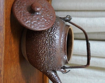 Vintage Oriental Teapot Asian Pottery Brown Pebble Stipple Finish