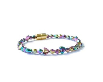 Rainbow Hearts and Diamond Magnetic Bracelet, Therapy Jewelry