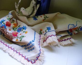 Vintage linen 1940s Embroidered Table Runner Floral Basket Fringe