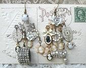 cameo rhinestone earring assemblage mismatch charm glorious
