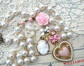 pink rose necklace assemblage heart cameo spring feminine shabby chic