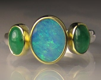Opal Ring, Boulder Opal and Emerald Ring, Australian Opal Emerald Ring, Sterling Silver and 18k Gold