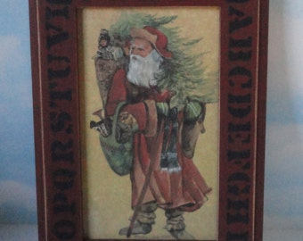 Old Santa Claus Print by Marlene Able 1985. Wood Frame with ABC. Wood Farmed Santa Print.
