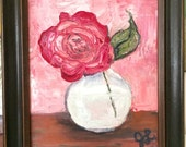 Framed Oil Painting - 8x10 // Still life // Rose // Ready to hang
