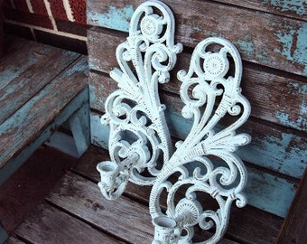Vintage Shabby Chic Candelabra Wall Sconce Set Candle Holder Repurposed Distressed Chippy French Country Baroque ornate