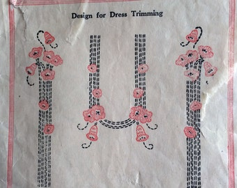1920s Frock Embroidery Transfer Pattern 20s Flapper Dress Trimming Motifs