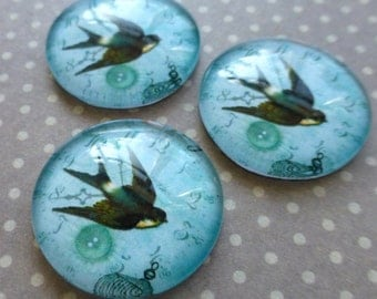 free uk postage Glass 20mm Cabochon swallow bird Pack of 4