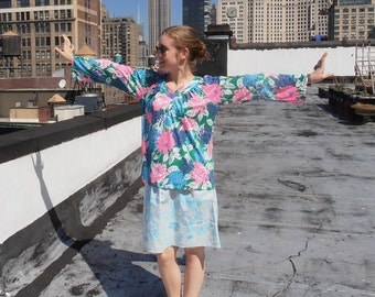 Vintage 1970s Lilly Pulitzer Bright Tropical Floral Long Sleeve Shirt L/XL