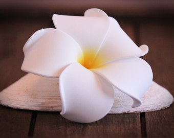 Plumeria Flower Hair Clip, White and Yellow, 3 inch, Floral Hair Clip, Hawaiian Hair Flower