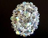 1950s Vintage Brooch with Austrian Crystal Beads, AB Rhinestone Brooch, Dressy Brooch, Costume, Crystal Brooch, Crystal Jewelry, Accessories