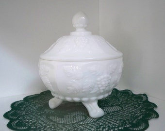 Vintage Home Decor Milk Glass Westmoreland Covered Bowl Milk Glass Collectible