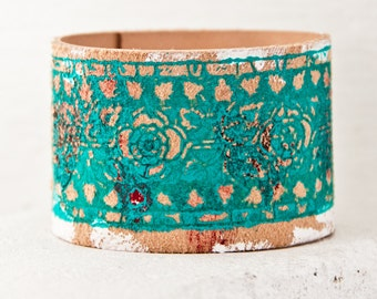 Valentine Turquoise Jewelry - Spring Bohemian Teal Leather Bracelet - Leather Cuff Bracelet Wristbands - Fashion Gift
