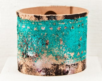 Teal Turquoise Jewelry Hand Painted Bracelet Cuffs - Unique Gift - Summer Trends - Southwest Leather Wristbands
