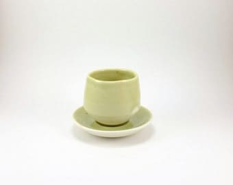 Speckled Green Espresso Cup and Saucer