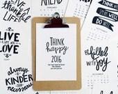 ON SALE CLIPBOARD 2016 5x7 Mini Calendar, Handlettered, Seasonal, Black & White, Planner,5 x 7, Wall Calendar, Desk Calendar
