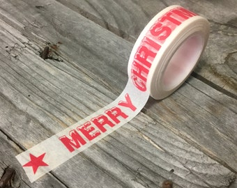 Washi Tape - 15mm - Red MERRY CHRISTMAS on White - Deco Paper Tape No. 1174